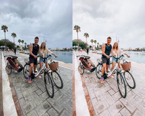 Voor en na op smartphone foto